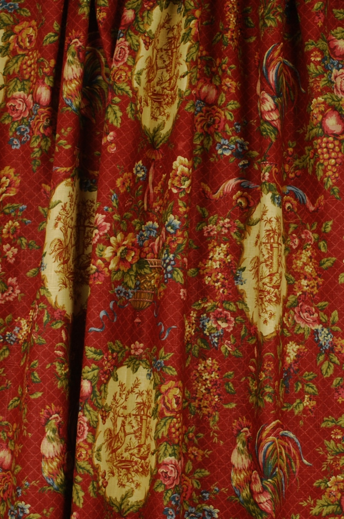 Details about Red Green Blue Rooster Toile Fabric Waverly|Saison de ...