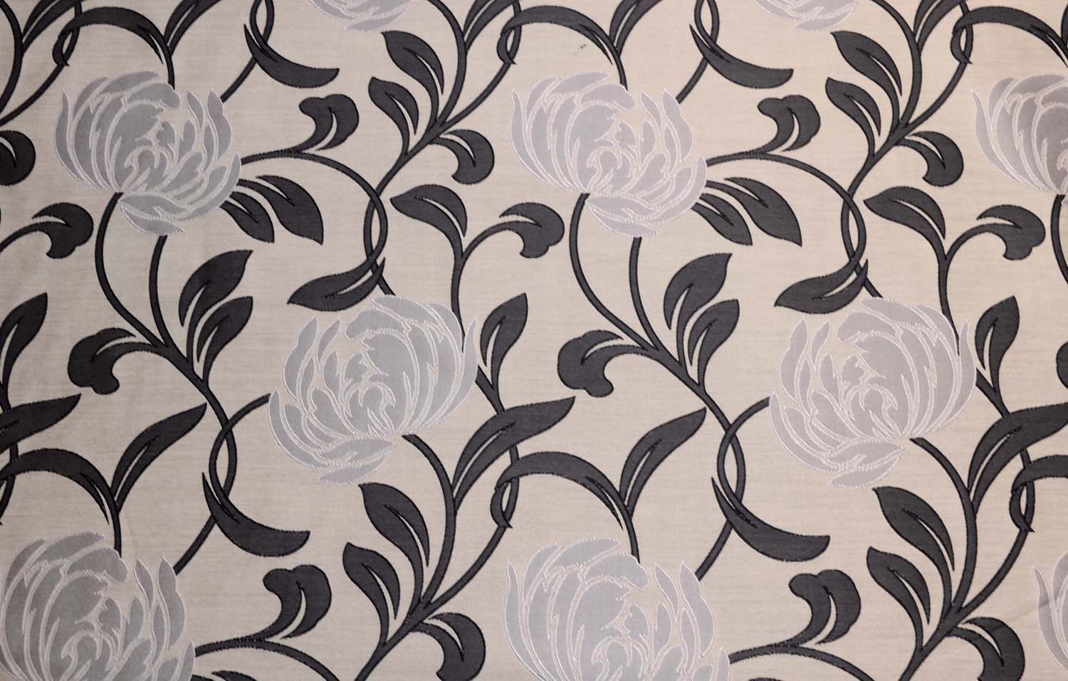 Image Is Loading Black Grey Silver Contemporary Fl Curtain Fabric