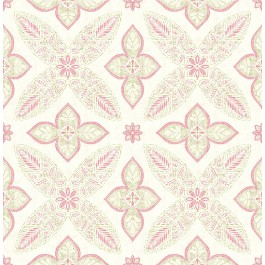 1014-001826 Off Beat Ethnic Pink Geometric Floral Wallpaper