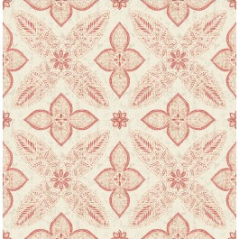 1014-001828 Off Beat Ethnic Red Geometric Floral Wallpaper