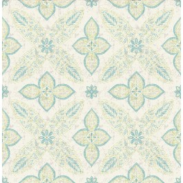 1014-001829 Off Beat Ethnic Turquoise Geometric Floral Wallpaper