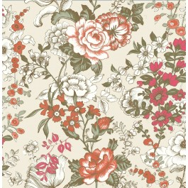 1014-001848 Ainsley Red Boho Floral Wallpaper