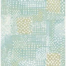 1014-001863 Flower Power Turquoise Patchwork Wallpaper