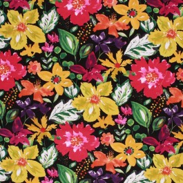 SPRING FLING BLACK RM Coco Fabric | The Fabric Co