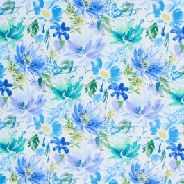 Floral Shower Cornflower RM Coco Fabric   The Fabric Co