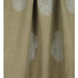 Taj Crystal Grey Paisley Embroidered Taupe Linen Drapery Fabric