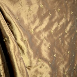 Embroidered Vine Floral Bronze Faux Silk Polyester Fabric