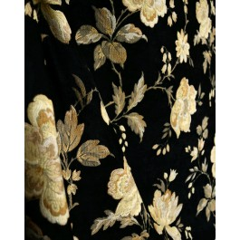 Black And Gold Floral Chenille Upholstery Fabric Noblesse 222