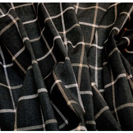 Herringbone Upholstery Fabric Charcoal Grey Windowpane Plaid Fabric