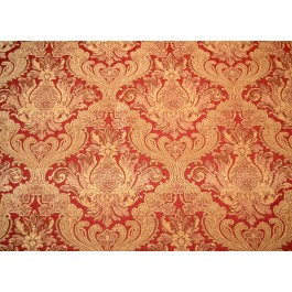 Red Gold Chenille Damask Upholstery Fabric Covington Balencia