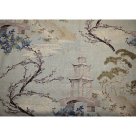 Chinese Asian Print on Heavy Basketweave Zen Flax Regal Fabric