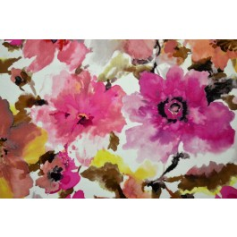 Judith Fuschia Watercolor Floral Digital Print On Soft  Velvet Regal Fabric