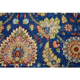Clifton Hall Gem Blue Red Floral Damask Print Waverly Fabric