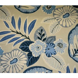 Tracey Horizon Blue Large Tropical Floral Print Richloom Fabric