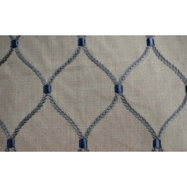 Deane Embroidery Storm Blue Linen Diamond Embroidery Waverly Fabric