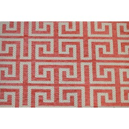 Irwin Coral Pink Cream Greek Key Chenille Upholstery Regal Fabric