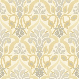 2535-20647 Fusion Yellow Ombre Damask Wallpaper