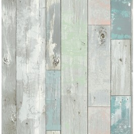 2540-20416 Deena Turquoise Distressed Wood Wallpaper
