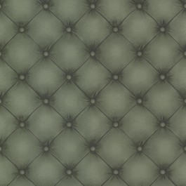 2604-21234 Chesterfield Dark Green Tufted Leather Wallpaper