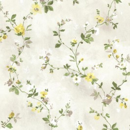 2605-21641 Isabella Yellow Floral Trail Wallpaper
