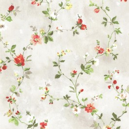 2605-21642 Isabella Red Floral Trail Wallpaper