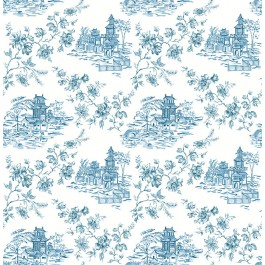 2657-22219 Laure Blueberry Toile Wallpaper