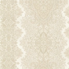 2665-21432 Benedict Beige Ornate Paisley Stripe Wallpaper