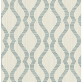 2834-25066 Yves Teal Ogee Wallpaper | The Fabric Co