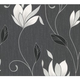 2834-M0783 Anais Charcoal Floral Trails Wallpaper   The Fabric Co