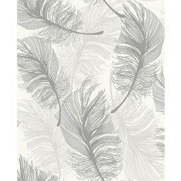 2834-M1390 Clemente Light Grey Foil Feather Wallpaper | The Fabric Co