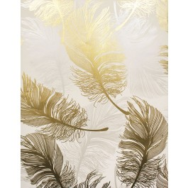 2834-M1392 Clemente Gold Foil Feather Wallpaper | The Fabric Co