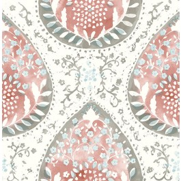2861-25748 Alistair Red Medallion Wallpaper   The Fabric Co