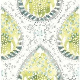 2861-25750 Alistair Green Medallion Wallpaper | The Fabric Co