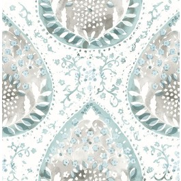2861-25751 Alistair Blue Medallion Wallpaper | The Fabric Co