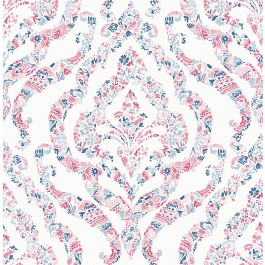 2901-25400 Featherton Coral Floral Damask Wallpaper | The Fabric Co