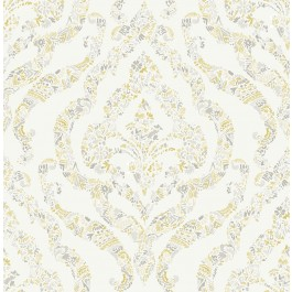 2901-25401 Featherton Mustard Floral Damask Wallpaper | The Fabric Co