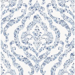 2901-25403 Featherton Blue Floral Damask Wallpaper | The Fabric Co