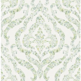 2901-25404 Featherton Light Green Floral Damask Wallpaper   The Fabric Co