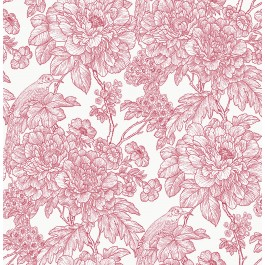 2901-25410 Birds of Paraside Breeze Red Floral Wallpaper | The Fabric Co