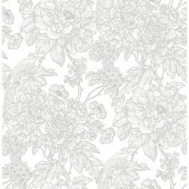 2901-25412 Birds of Paraside Breeze Grey Floral Wallpaper | The Fabric Co