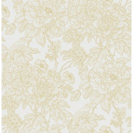 2901-25413 Birds of Paraside Breeze Mustard Floral Wallpaper | The Fabric Co