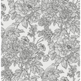 2901-25414 Birds of Paraside Breeze Black Floral Wallpaper | The Fabric Co