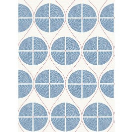 2901-25424 Luminary Blue Ogee Wallpaper | The Fabric Co