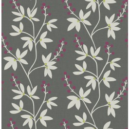 2901-25439 Linnea Elsa Dark Brown Botanical Trail Wallpaper | The Fabric Co