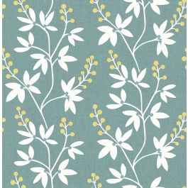 2901-25440 Linnea Elsa Teal Botanical Trail Wallpaper | The Fabric Co