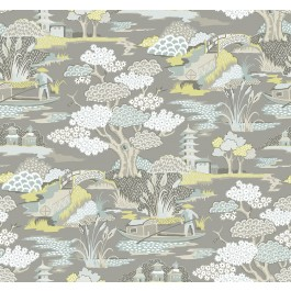 2901-87511 Joy De Vie Grey Toile Wallpaper | The Fabric Co