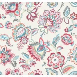 2901-87512 Corona Red Jacobean Wallpaper | The Fabric Co