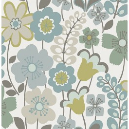 2903-25827 Piper Green Floral Wallpaper   The Fabric Co