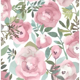 2903-25839 Orla Pink Floral Wallpaper   The Fabric Co