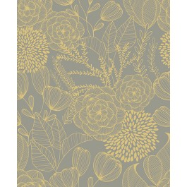 2903-25854 Alannah Taupe Botanical Wallpaper | The Fabric Co